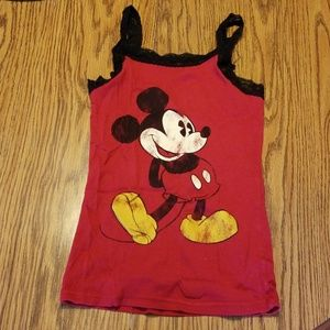 Distressed Mickey Mouse lace trim tank top